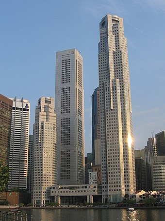 The two towers of UOB Plaza with OUB Centre visible in between. Goh was adviser to the United Overseas Bank group following his retirement from politics. UOB Plaza Towers and OUB Centre, Aug 07.JPG