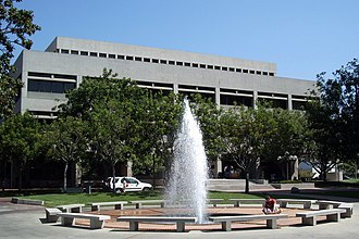 The Law School building is one of the handful of examples of Brutalist architecture on the main campus. USC Law.jpg