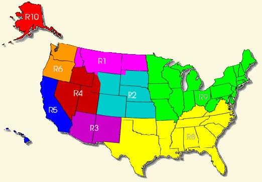USFS regions map