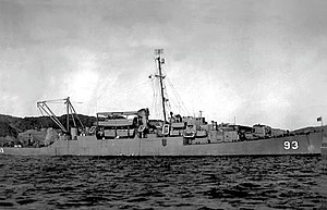 USS Brock (APD-93) at anchor, circa in 1945