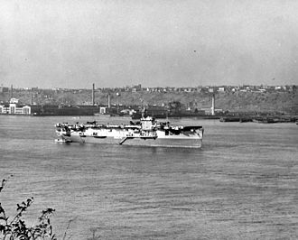 Operation Teardrop - USS Croatan anchored in the Hudson River off New York City in October 1945