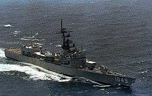 USS Davidson (FF-1045) underway in the Indian Ocean on 1 May 1983 (6378958).jpg