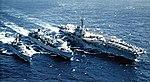 USS Detroit (AOE-4) refueling Forrestal (CV-59) and Josephus Daniels (CG-27) 1981.jpg