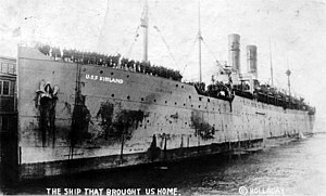 USS Finland (ID-4543) arrives at Newport News, Virginia, with returning U.S. troops in 1919.