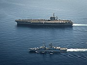 USS Nimitz (CVN-68) and Francesco Mimbelli (D561) underway in the Med 2013