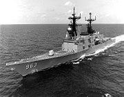 USS Spruance (DD-963) underway after her Mark 41 VLS modernization, circa in June 1987 (NH 96851)