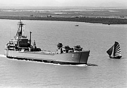 USS Washtenaw County (MSS-2) underway off Haiphong on 20 June 1973
