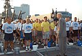 US Navy 030820-N-9809D-002 Former Master Chief of the Navy (MCPON) Robert Walker addresses 2003 Chief Petty Officer selectees during morning quarters on the fantail of USS Wisconsin (BB 64).jpg