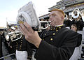 US Navy 031101-N-0399H-002 Midshipman Jason Pallotta, from Daytona Beach Fla., plays the trumpet during Navy's 35-17 victory over Tulane.jpg