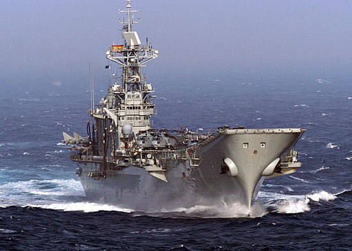 US Navy 040712-N-7263H-028 The Spanish aircraft carrier SPS Principe De Asturias (R 11) steams through the Atlantic Ocean while participating in Majestic Eagle 2004