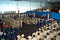 US Navy 040915-N-8704K-001 Commanding Officer, USS John F. Kennedy (CV 67), John W. Miller, speaks to the newly appointed chief petty officers (CPO) about their role as leaders in today's Navy.jpg