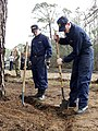 US Navy 050225-N-6639C-028 Sailors and Marine Corps personnel assigned to Naval Air Station Pensacola, Fla., and area tenant commands, pitch in to clear and restore the fitness trail.jpg