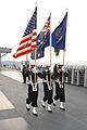 US Navy 050603-N-4702D-010 Color Guard assigned to the amphibious command ship USS Blue Ridge (LCC 19), parade the colors while pulling into port.jpg