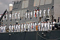 US Navy 070801-N-9134V-133 Sailors man the rails aboard the guided missile destroyer USS Porter (DDG 78) as the ship departs Naval Station Norfolk, as part of the Kearsarge Expeditionary Strike Group (ESG) for a scheduled deplo.jpg