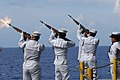 US Navy 080612-N-4995K-103 Sailors assigned to the Ship's Honor Guard renders a 21-gun salute during a burial at sea ceremony June 12, 2008..jpg