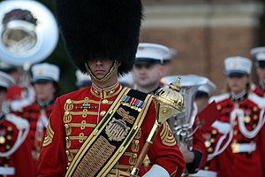 United States military music customs - U.S. Marine Band drum major in bearskin hat and ceremonial baldric