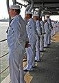 US Navy 080830-N-1082Z-031 Sailors man the rails aboard the guided-missile cruiser USS Vella Gulf (CG 72).jpg