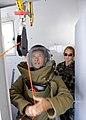 US Navy 101112-N-8546L-598 Lt. Sarah Terse, an explosive ordnance disposal officer from Swedesboro, N.J., assesses a Uruguayan explosive ordnance d.jpg