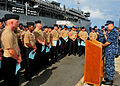 US Navy 110603-N-UE250-005 Capt. Thomas Stanley, commanding officer of the submarine tender USS Frank Cable (AS 40), talks about the obstacles and.jpg