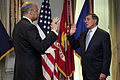 US Navy 110701-F-RG147-029 Leon E. Panetta takes the oath of office as the 23rd U.S. Secretary of Defense during a ceremony in the Pentagon.jpg