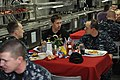 US Navy 110816-N-NZ569-019 NASCAR driver Carl Edwards eats with Sailors on the mess decks of the aircraft carrier USS Dwight D. Eisenhower (CVN 69).jpg