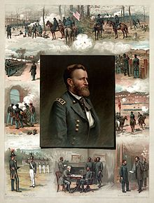 Grant's portrait is in the middle of a picture surrounded by his chronological military history starting with graduating from West Point, next the Mexican–American War, and finally Civil War events and battle scenes.