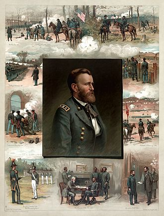 Thure de Thulstrup - Grant from West Point to Appomattox, an 1885 lithograph by Thulstrup. Clockwise from lower left: Graduation from West Point (1843); In the tower at Chapultepec (1847); Drilling his Volunteers (1861); The Battle of Fort Donelson (1862); The Battle of Shiloh (1862); The Siege of Vicksburg (1863); The Chattanooga Campaign (1863); Appointment as Commander-in-Chief by Abraham Lincoln (1864); The Surrender of General Robert E. Lee at Appomattox Court House (1865)