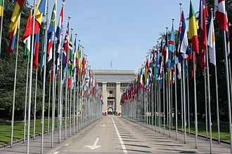 Member states of the United Nations - Flags of the member states of the United Nations, in front of the Palace of Nations (Geneva, Switzerland). Since 2015, the flags of the two non-member observer states are raised alongside those of the 193 member states.