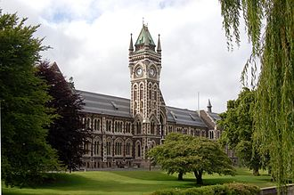 University of Otago Registry Building - The western side of the Registry Building, from across the Water of Leith