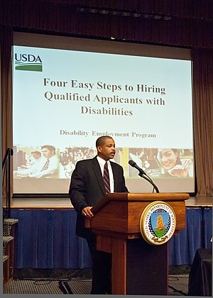 "Accessibility - William P. Milton, Jr., Deputy Director, Office of Human Resources Management explained the ""Four Easy Steps to Hiring Qualified Applicants with Disabilities"" to United States Department of Agriculture employees during a 2011 National Disability Employment Awareness Month event in Washington, DC, USA."