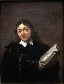 Jan Baptist Weenix portrætter af René Descartes.   På bogsiden står