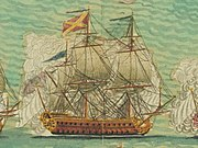 a simplistic image of an 18th-century warship wreathed in gunsmoke