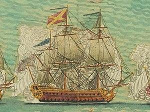 French ship Redoutable - Image: Vaisseau le Redoutable 74 canons a la bataille de Minorque 1756