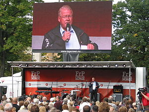 "Carl I. Hagen - Carl I. Hagen speaking at a rally in Oslo as the Progress Party ""senior general"" before the 2009 parliamentary election."