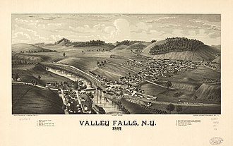 Valley Falls, New York - Perspective map of Valley Falls from 1887 by L.R. Burleigh including a list of landmarks