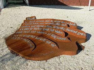 """Rutger Kopland - Sculptured poetry from Rutger Kopland (""""Beek"""") in Veendam"""