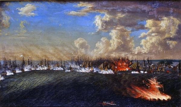 """""""Retraiten från Viborg d. 3 juli 1790"""". Olja av Johan Tietrich Schoultz. """""""
