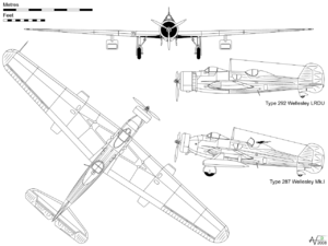 Vickers Wellesley - Orthographic projection of the Wellesley Mk.I, with profile of the Type 292 used by the LRDU record-breaking flight.