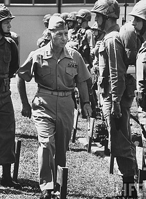 Victor H. Krulak - Krulak inspecting Marines from First Air Naval Gunfire Liaison Company in Hawaii, April 1965.