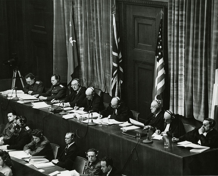 File:View of judges panel during testimony Nuremberg Trials 1945.jpeg