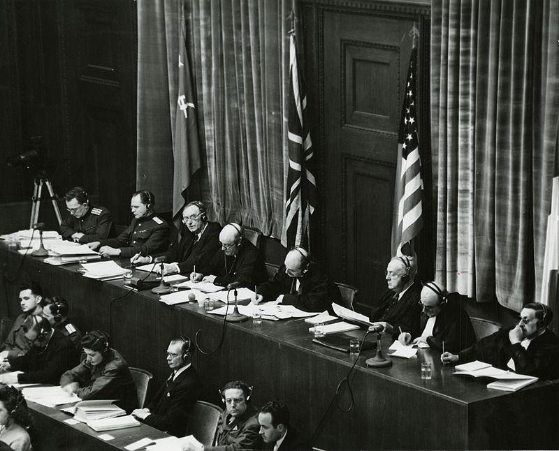 View of judges panel during testimony Nuremberg Trials 1945.jpeg