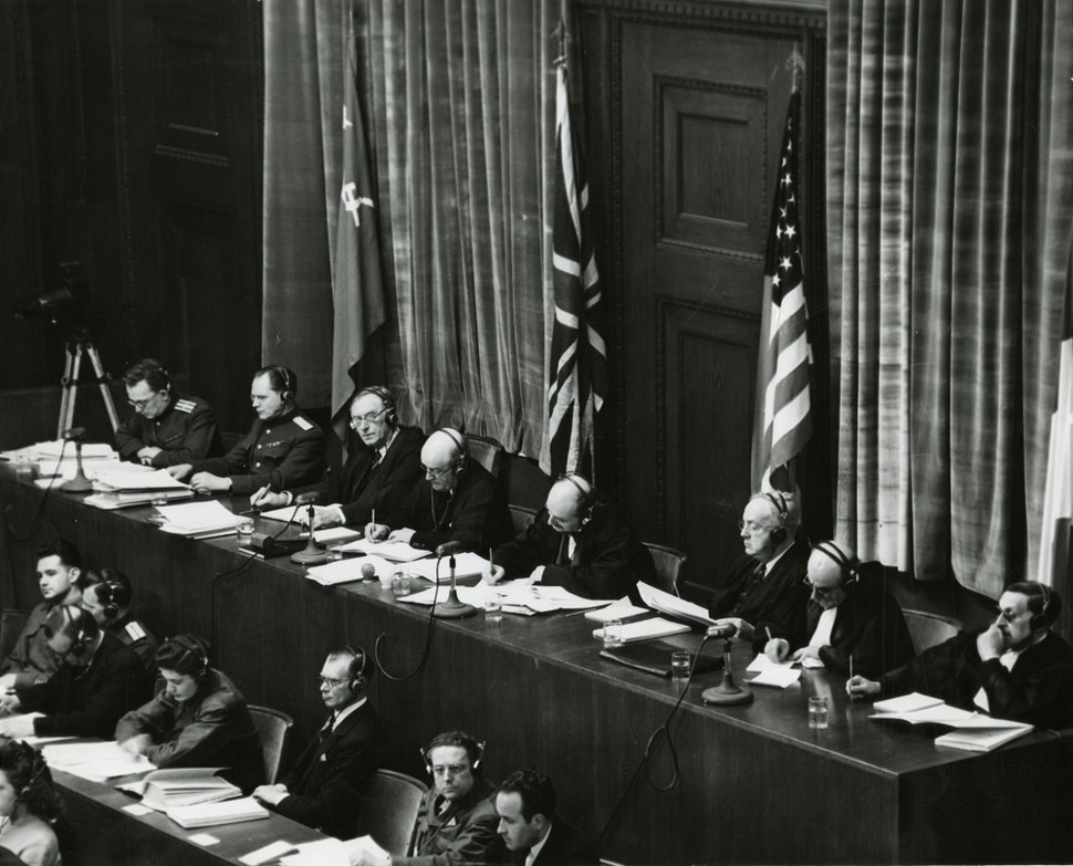 View of judges panel during testimony Nuremberg Trials 1945.jpeg