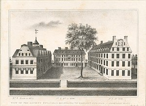Harvard College - View of the ancient buildings belonging to Harvard College, Cambridge, Mass., New York Public Library