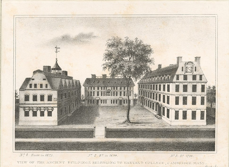 View of the ancient buildings belonging to Harvard College, Cambridge, Mass (NYPL b12349145-422857)