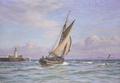 Vilhelm Arnesen - Sejlskib runder et havnefyr - 1919.png