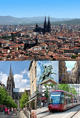 Photomontage: View of the historic center from Montjuzet Park (top) Victoire Square and Notre-Dame-de-l'Assomption Cathedral, Statue of Vercingétorix and Chaussetiers Street (middle) Basilica of Notre-Dame du Port (bottom).