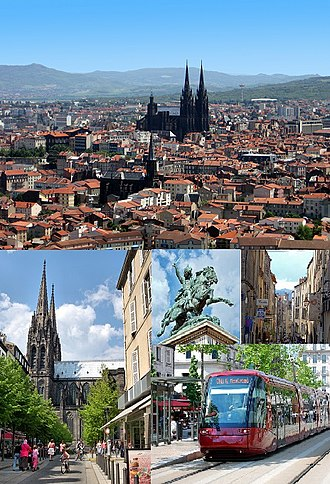 Clermont-Ferrand - Photomontage: View of the historic center from Montjuzet Park (top) Victoire Square and Notre-Dame-de-l'Assomption Cathedral, Statue of Vercingétorix and Chaussetiers Street (middle) Basilica of Notre-Dame du Port (bottom).