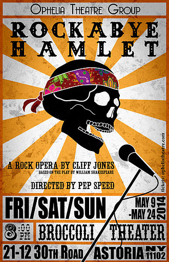 Rockabye Hamlet - Rockabye Hamlet 2014 Ophelia Theatre Group poster