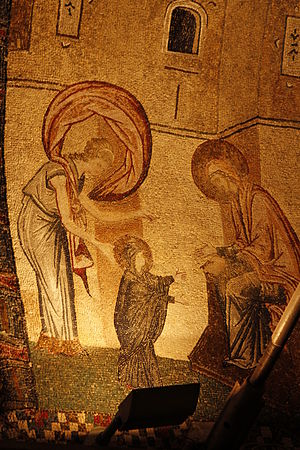Mary, mother of Jesus - The Virgin's first seven steps, mosaic from Chora Church, c. 12th century