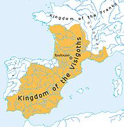 Greatest extent of the Visigothic kingdom of Toulouse, c. 500